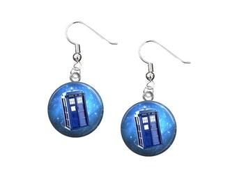 Doctor Who Earrings, 12mm Dangle Earrings, Doctor Who Jewelry, Dr Who Earrings, Doctor Who Quotes, TARDIS, Sci-Fi, Geek Fashion