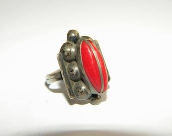 Vintage ring Silver 925 genuine Coral