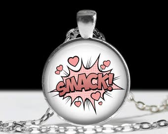 Smack Comic Book Necklace - Comics Sound Effect Jewelry -Punk, Hardcore, Gothic, Nerd, Geek, Geekery, Dork - 1 inch Silver and Glass Pendant