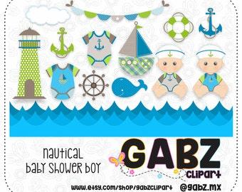 Nautical Baby Shower Boy, Baby Shower, Clipart, Baby Boy, Nautical, Gabz