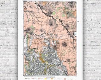 Creswick Goldfield Map 1880 - Goldfields map in original colours, poster, print, antique map, wall art, Ballarat