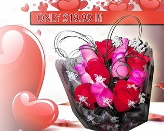 Sale! Order Today! Mothers Day Roses!! One Dozen Wooden Roses in Red, Pink, or a blend of both! You choose your scent!! Makes a GREAT Gift!!