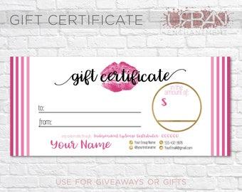 LipSense Gift Certificate - Pink Stripe - Senegence - Gift Cert - PERSONALIZED