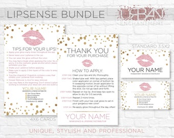Custom LipSense Business Cards - White Confetti - Senegence - Lip Sense Business Card