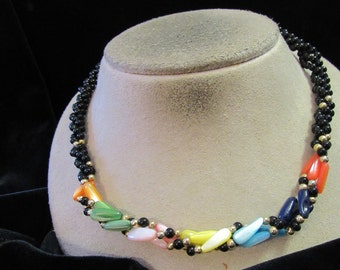 Vintage Black Glass Beaded Colorful Shell Beaded Twisted Designed Necklace