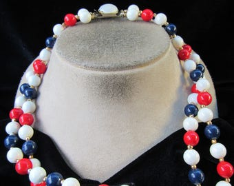 Vintage Signed Hong Kong Double Stranded Blue White & Red Beaded Necklace