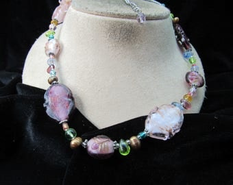 Vintage Multi Colored Glass Beaded Necklace