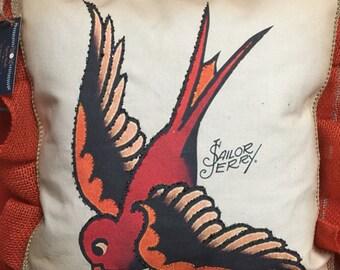 "The Sailor Jerry ""sparrow"" novelty/decorative pillow"