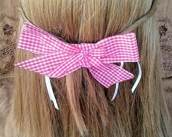 Red Plaid/Gingham Cute Country Bow Hair Barrette