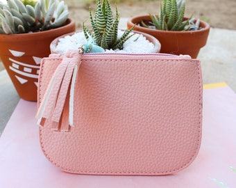 Mini Pink Coin Purse / Faux Leather Clutch