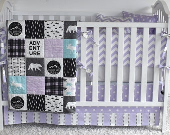 Lavender and Aqua Antlers Crib Bedding, modern nursery, modern quilt, woodland, fawn, baby girl, purple, deer, moose, bear