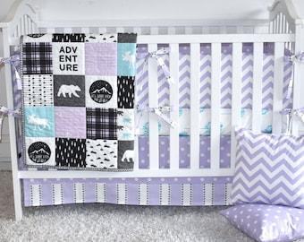 purple crib bedding, purple and aqua, woodland bedding, girl woodland nursery, bear nursery, moose nursery, adventure nursery
