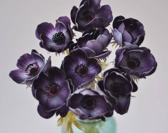 Purple anemones real touch flowers natural touch flower for wedding bouquet centerpiece home decor