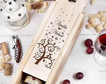 Personalized Wine Box, Personalised Wine Box, Custom Wine Box, Wedding Wine Box, Anniversary Wine Box, Wine Gift Box, Wooden Wine Box