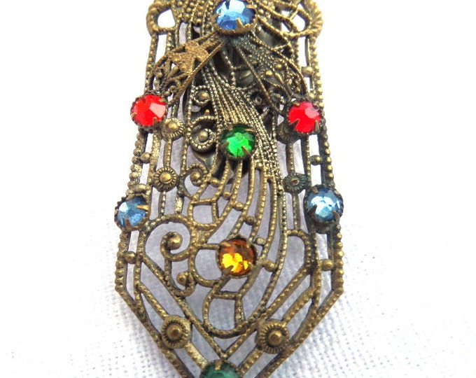 FREE SHIPPING Czech Filigree Dress Clip, Art Nouveau Filigree Metal, Brooch, Pendant, Gold Tone Metal, Red, Green, Blue, Yellow Rhinestones
