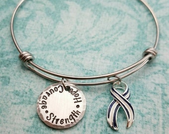 Strength Hope And Courage Bracelet, ALS Awareness Ribbon, ALS Awareness Bangle, Awareness Gift, Blu and White Ribbon, Survivor Gift