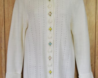 Vintage 60's Floral Embroidered Off White Cardigan/Sweater by Felice Size S/M