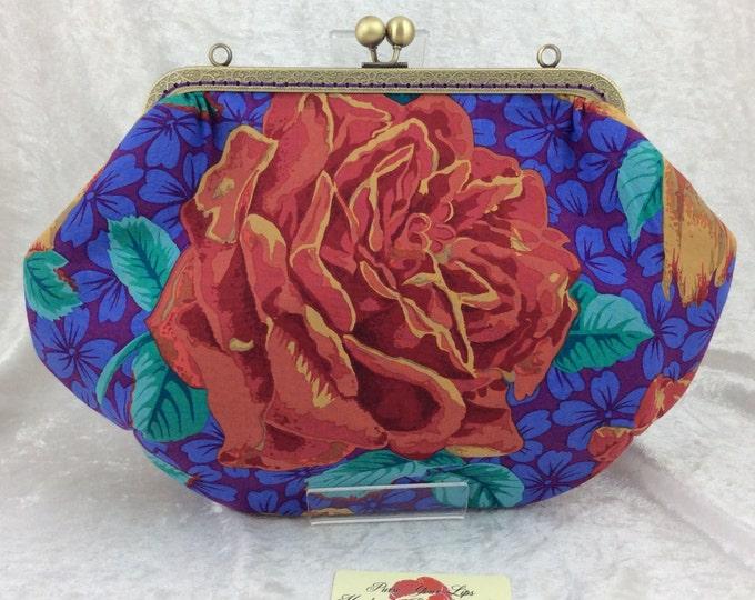 Roses Grace frame handbag purse Philip Jacobs  Kaffe Fassett Collective Rose Bloom fabric bag clutch handmade in England