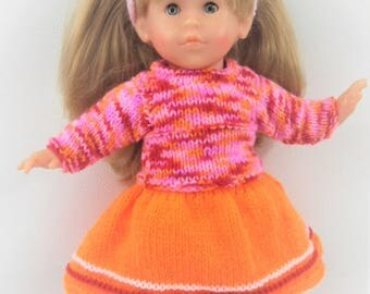 Doll clothes - All skirt, vest and boots - Fuchsia, orange and Red