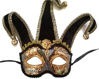 Black & Gold Jester Masquerade Mask U144