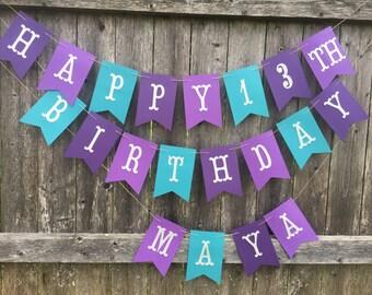 Happy Birthday Banner. Birthday banner in teal, light purple and dark purple.