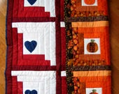 Patriotic Quilt & Fall Pumpkin Quilt, Reversible Handmade Quilt, Patriotic Red White Blue Quilt, Fourth of July Quilt, Wedding Quilt Gift
