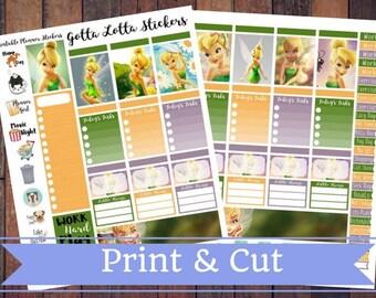 50% Off SALE \ Tinkerbell \ Instant Download Printable Vertical Planner Kit \ Planner Stickers \ Scrapbook \ Journal Clip Art
