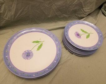 18 pieces Precido melamine dinnerware 6 dinner plates 12 salad plates