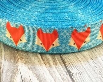 "Fox ribbon - What did the fox say - 7/8"" Grosgrain ribbon - Teal fox ribbon - Animal ribbon - DIY fox hair bow - DIY fox crafts"
