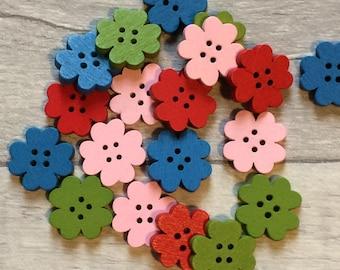Wooden flower buttons, pink craft buttons, coloured flower button, blue flower button, coloured craft button, button craft, sewing buttons