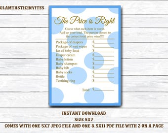 The Price is right Baby Shower Game Printable, Boy Baby Shower Games, Baby Shower Price is Right, Digital file, Baby Shower Game, Download