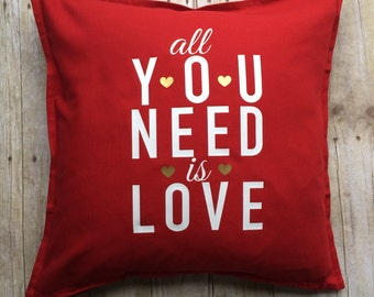 Valentine pillow- Red pillow- Valentine red pillow- all you need is love- Valentine decoration- Valentine decor- Valentine decorative pillow