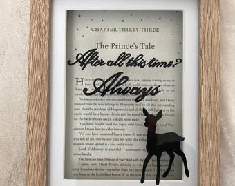 Harry Potter Always quote frame with doe & chapter title book page. After all this time? Always quote ,The Patronus, The Silver doe, Snape