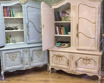Sold--Carved Vintage Louis Style French Shabby Chic Bookcase Display Drinks Cabinet Annie Sloan Louis Blue--Boys Room