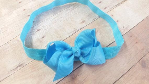 Baby Blue Bow Headand, Blue Headband, Bow Headband, Headband Bows, Headband For Girl, Girls Bow Headband, Baby Headbands Bows, Ribbon Bow