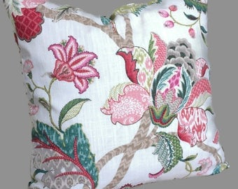 Farmhouse Pillow, Jacobean Pillow, French Country Throw Pillow, Red Pink Teal Cushion Cover Cottage Floral Accent Pillow, Shabby Chic Decor