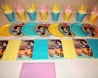 49 Piece Snow White Place settings Table Decorations Party Supplies