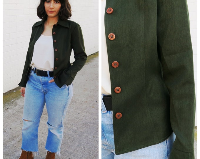 40's Style Fitted Green Blazer