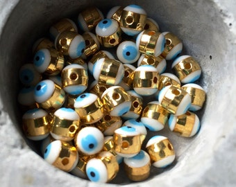 Evil eye white and blue greek eye enamel gold electroplated beads protection 5x6mm. 5 pieces