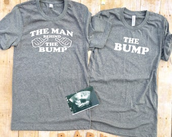 The bump and The Man Behind the bump, pregnancy Announcement shirts, Couples shirt, Mommy to Be, Pregnancy Reveal, New Mom, Daddy to be
