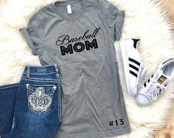 Sports mom shirt, Baseball mom shirt, baseball shirt, mom shirts, customized shirts, gift for mom, gift for wife, sports shirt, add number