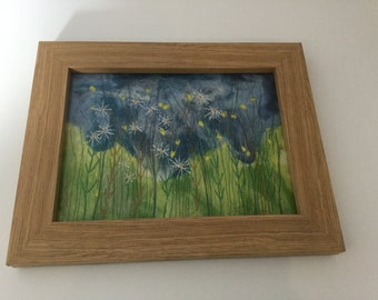 Handmade needle felted daisy picture, made using free motion machine embroidery, home decor