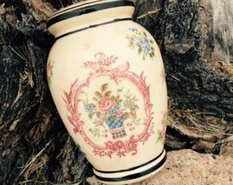 Vintage Hand Painted Porcelain Sugar Shaker Muffineer, Floral pattern, Hand painted, Japan, Decor