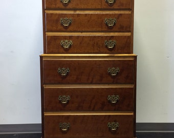 KINDEL Grand Rapids Fruitwood Chest on Chest