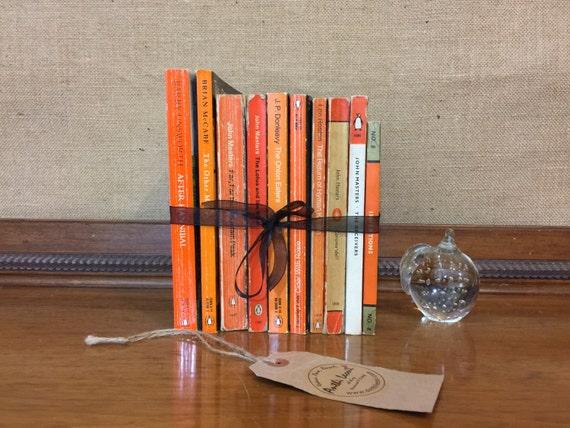 PENGUIN Paperback Book Collection - Instant Book Stack - Interior Design Shelf Staging - Orange Home Decor - Custom Sourced Vintage Books