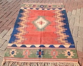 """Small kilim rug, 68""""  x 46.5"""", Entrance rug, Vintage Turkish rug, pastel kilim rug, kelim, vintage rug, bohemian rug, small rug, 028"""