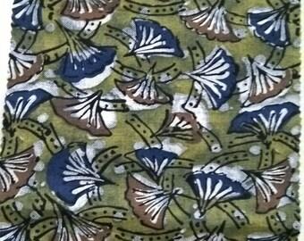 Ginkgo leaves print, Henna green fabric, Indigo print, 2 colorways, botanical print,fabric by the yard, Indian cotton, SS17 fashion forecast