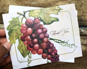 Red Grapes Thank you Card, Watercolor Fine Art Greeting Card