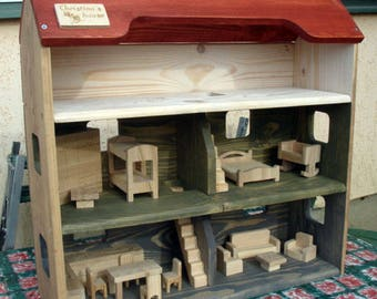 Wood Doll House, Handmade Wooden Kids Toy, Natural Pine Wooden Dollhouse with 3 Floors, Personalized with your kids name