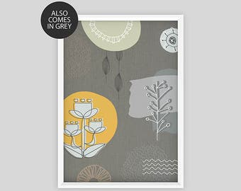 Mid Century Modern Scandinavian style hand drawn nature print A3 INSTANT DOWNLOAD
